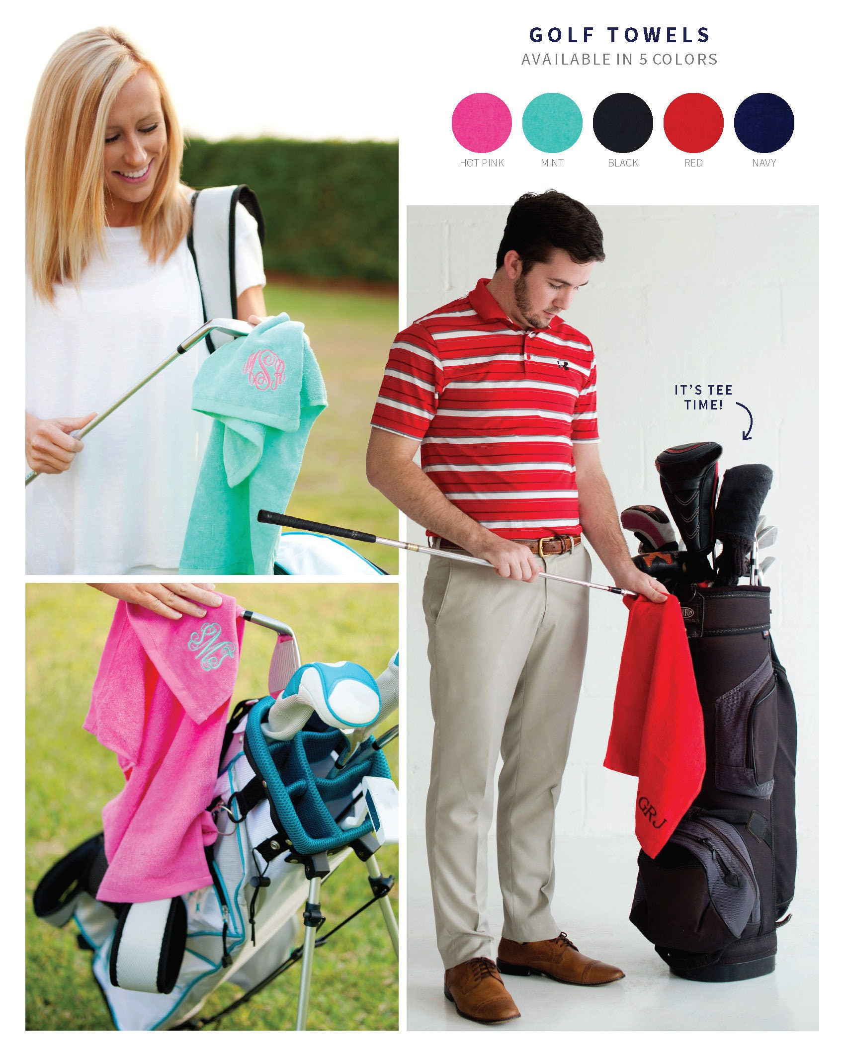 Monogram Golf Towel, Monogrammed Gifts, Monogrammed Golf