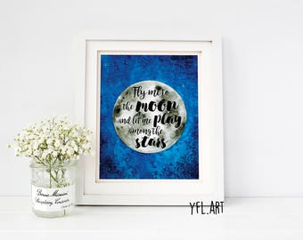 Fly me to the moon and let me play among the stars- Nursery moon art- Moon watercolor art- Moon watercolor- Moon and stars