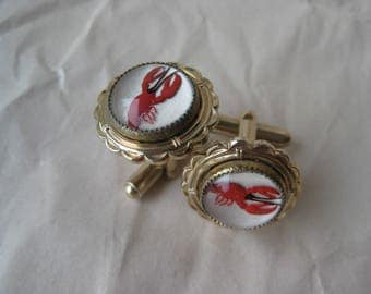 Lobster Cuff Links Reverse Painted Glass Red Gold Vintage