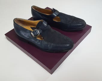 1980s Midnight Blue Suede Leather Buckle Cutout Loafer Sandals / Shoes- Mens 8 - Womens 10