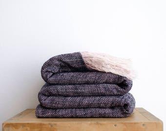 Black and White Linen Cotton Blanket