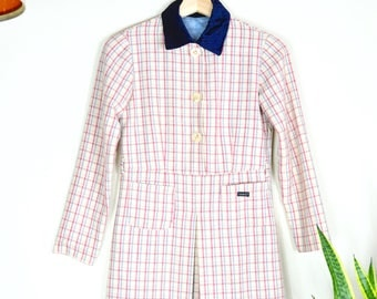 vintage Italian pastel pink plaid dress // Lorena'O collared youth dress