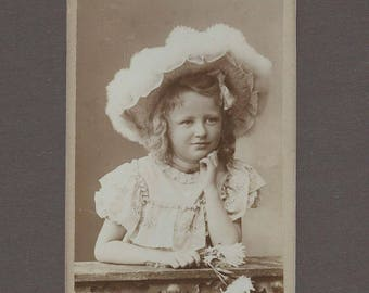 CDV of a Little Girl in a Huge Feathered Picture Hat