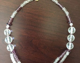 Double Strand Purple Crystal Necklace