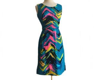 Vintage 1960s Hawaiian sheath dress/ abstract print teal blue dress/ Ja-Na of Hawaii/ neon yellow blue pink