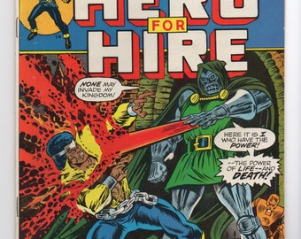 "Luke Cage, Hero For Hire #9 ""Where Angels Fear To Tread"" - Marvel Comics 1973 - VF+ Grade - Jessica Jones, The Defenders, Netflix Hero"