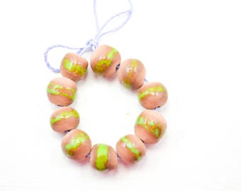 10 Handcrafted Ceramic Beads - Edgey - Unique Assortment - Earthy - Striped- Handmade - Round- Pottery beads - Brownstone - Bead Set  Y480