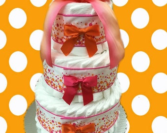 3 Layer Festival Pink -  Baby Shower Diaper Cake Gift Set