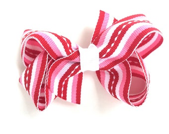 Pink, red & white striped hair bow - Valentines hair bow, pink hair bows, girls hair bows, toddler hair bows, girls bows, hair bows, bows