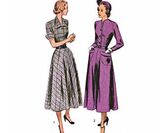 1948 Vintage Bias Skirt Dress, Dart Fitted Bodice, Turnback Cuff & Collar Option, Shaped Pockets with Flaps, Simplicity 2617, Bust 32""