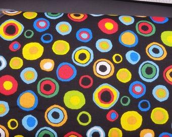 Circle Fabric, Circles Fabric, Black Quilting Cotton, Colorful Spots on Black, Jumbo Rainbow Dots, By the Half Yard