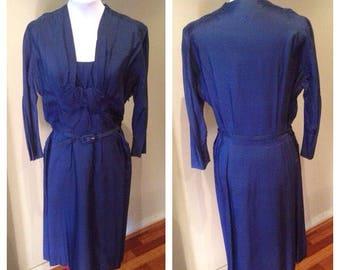 Vintage 1950s Navy Blue Silk Mix Dress - 37 Bust