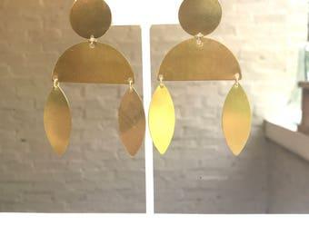 Brass Marquis Drop Earrings