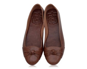 PANAMA. Brown shoes / leather ballet flats / women shoes / brown leather flats / women flats. Sizes 35-43. Available in different colors