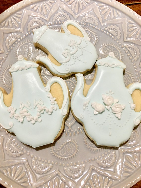 12 Classic French Tea Pot Cookies for High Tea Parties, Birthdays, Showers
