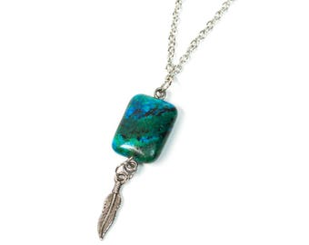 Blue Green Stone Necklace with Feather Charm