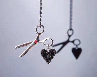 Scissors & Shattered Heart Necklace, Scissors Necklace, Shattered Heart Pendant, Heart Necklace