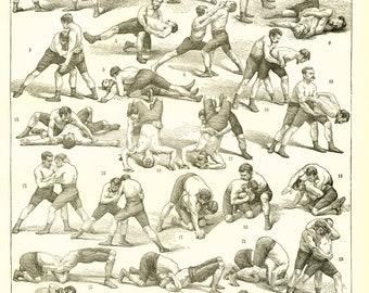 Affiche de lutte vintage 1897 Poster de sport de combat Poster de lutte Affiche de lutte page de dictionnaire français