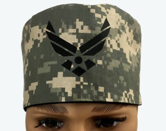 Surgical Scrub Cap - US AIR Force Woodland Scrub Hat - Camouflage Scrub Hat - Camo Scrub Cap