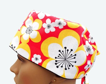 Floral Scrub Caps Women, Personalized with Name, Great Nurse Gift Idea, Tropical Scrub Cap, Surgical scrub Hats, Scrub Caps, Scrub Hats