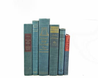 Cerulean Blue Decorative Books, Antique Book Set, Old Book Stack, Wedding Centerpiece, Vintage Book Collection, Book Decor, Instant LIbrary,