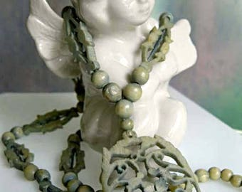 Art Deco Celluloid Necklace, Carved Pierced Flower Leaves, Marbled Seafoam Green Pendant, Ornate Open Chain Links and Beads