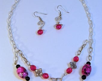 Fuchsia Necklace and Earring Set