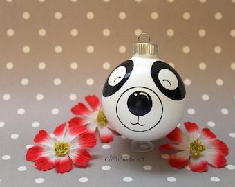 Panda Bear Christmas Ornament READY TO SHIP Glass Bauble Hand Painted Kawaii Animal Panda Gifts Panda Bear Decor