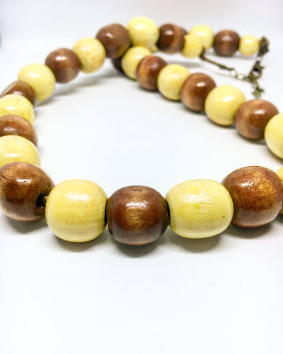 Round Natural Wooden Beaded Necklace on Faux Suede Cord With Adjustable Clasp
