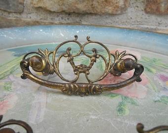 3 Antique Brass Drawer Pulls Handles Vintage Brass Salvaged Hardware Instant Collection Furniture Rehab Embellishment Delicate Ornate Design