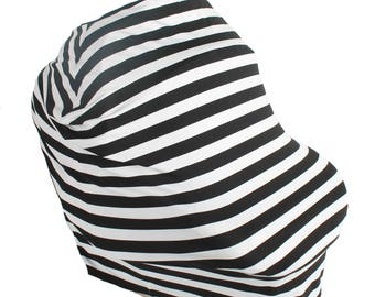 Black and White Stripe Hold Me Close Stretchy Carseat Cover and Nursing Poncho all in one - Full Coverage Nursing Cover