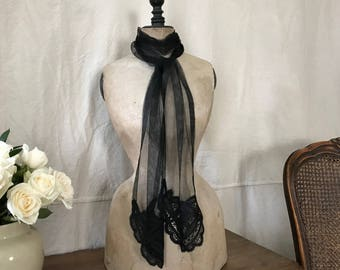 Antique Black Lace Jabot Scarf, Fine Ribbon Lace, Tulle, Lappet Scarf, Stole, Wrap