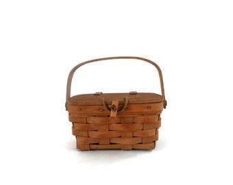 1986 Miniature Longaberger Splint Picnic Basket with Wooden Lid and Hinged Handle