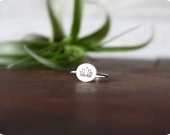 Lotus Ring//Sterling Silver//Handcrafted//Inspirational Jewelry