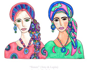 Painting / Art Print / Sisters Woman in Scarf  / Hair Scarves Breast Cancer Awareness / Unique Artwork / Sisterhood / Get Well / Live Strong