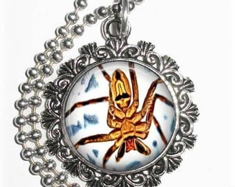 Brown & Yellow Spider Art Pendant, Photo Painting Filigree Charm, Silver and Resin Necklace, YessiJewels Jewelry