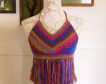 Rainbow sunrise halter, colorful festival top with fringe