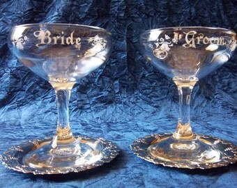 Bride and Groom Glasses with Matching Ornate Bride and Groom Silver Coasters