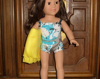Swim Suit, Bathing Suit and beach towel for your America Girl Doll or any 18 inch doll