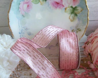 Ballet Pink Glitter Accent Ribbon, Glitter Ribbons, Shabby and Chic Ribbons, Pink Ribbon, Elegant Ribbon, Pink, Wired Ribbon, Ribbons