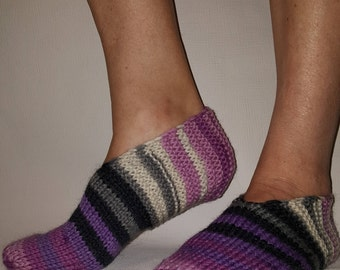 Hand Knit Woman Slipper Socks-Natural Wool Slippers -Home Slippers -Hand Knit Slippers -Wool Socks
