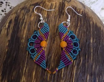 Beaded  Micro Macrame Earrings Wavy Teal Purple Gold
