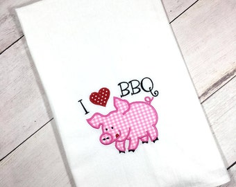 BBQ Gift, Barbecue, Barbecue Grill Gift, Barbecue Kitchen Towel, Barbecue Kitchen,  Barbecue Kitchen Decor, I Love Barbecue Towel, Pig Towel