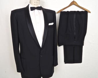 1960s Shawl Lapel Tuxedo / vintage After Six black tux w suspender buttons / formal shawl collar dinner suit jacket & pants / men's large-XL