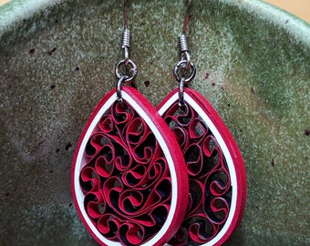 Paper Quilled Honeycomb Crimson Red Earrings | Paper Anniversary for Her | First Anniversary Gift | Paper Lightweight Jewelry