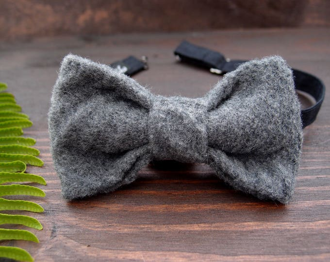Groom bow tie, Groomsmen Bow tie, Pre tied bow tie, Mens bow tie, Grey Bow tie, Pre-tied bow tie, Groomsman Bow tie, Birthday gift for him