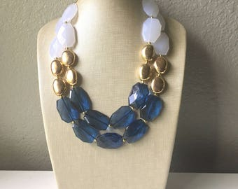 Nautical Chunky Statement Necklace, Big beaded jewelry, Double Strand Statement Necklace, navy blue an white, gold navy necklace, white gold
