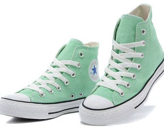 Mint Custom Converse High Top Pistachio Peppermint Green Seafoam w/ Swarovski Crystal Rhinestone Wedding Chuck Taylor All Star Sneaker Shoes