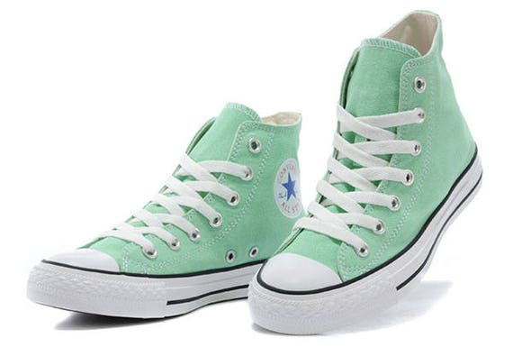 Mint Custom Converse High Top Pistachio Peppermint Green Seafoam w/ Swarovski Crystal Rhinestone Wedding Chuck Taylor All Star Sneaker Shoes