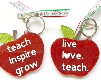 Teacher gift, teacher keychain, apple keychain, teacher present, stocking stuffer, keychain, teach,